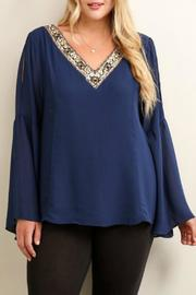 Soieblu Jeweled V Neck Top - Front cropped