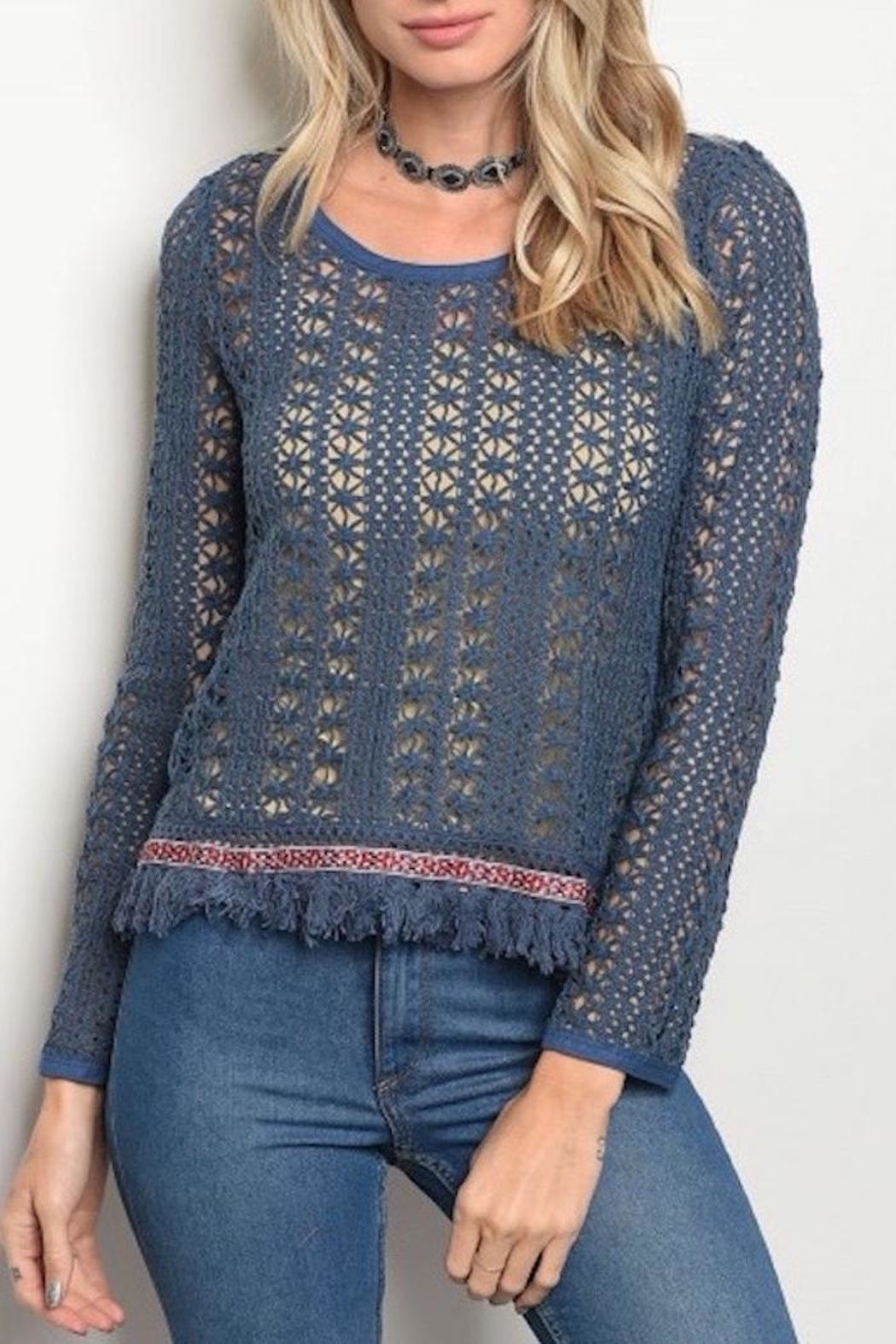 Soieblu Knit Boho Sweater - Front Cropped Image