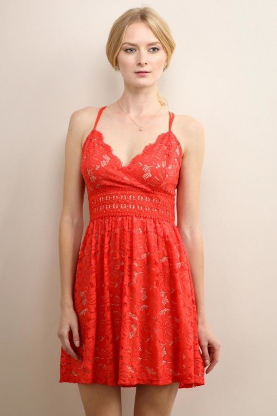 Soieblu Red Lace Dress - Main Image