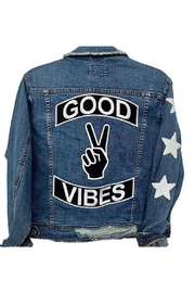Sojara Vintage Denim Good Vibes Jacket - Front cropped