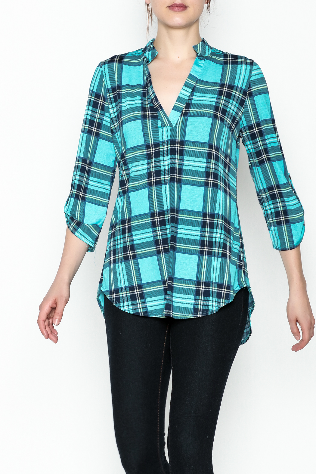 SOL Plaid Top - Front Cropped Image