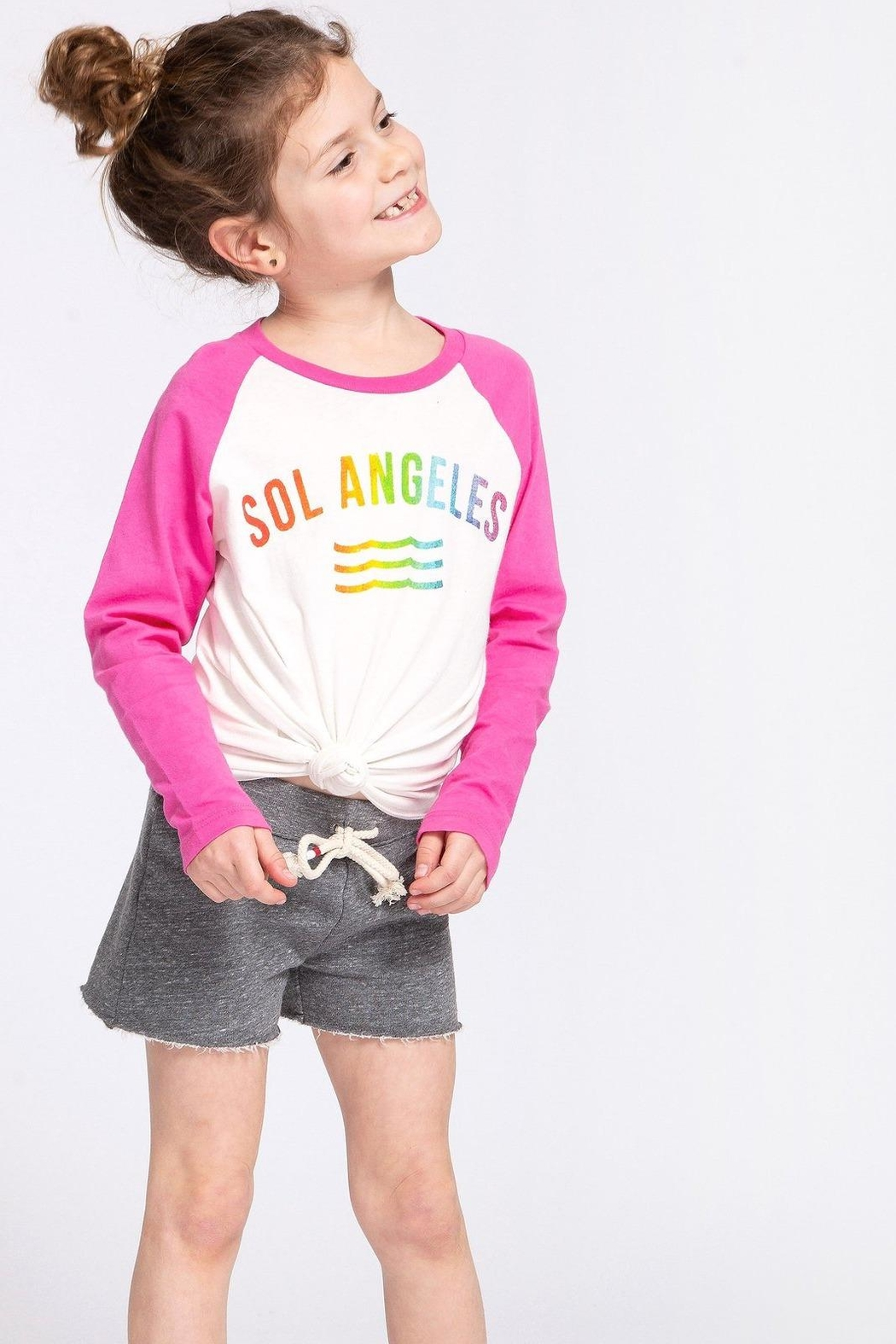 Sol Angeles Rainbow Baseball Tee - Front Cropped Image