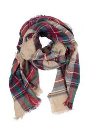 solace Plaid Blanket Scarf - Front full body