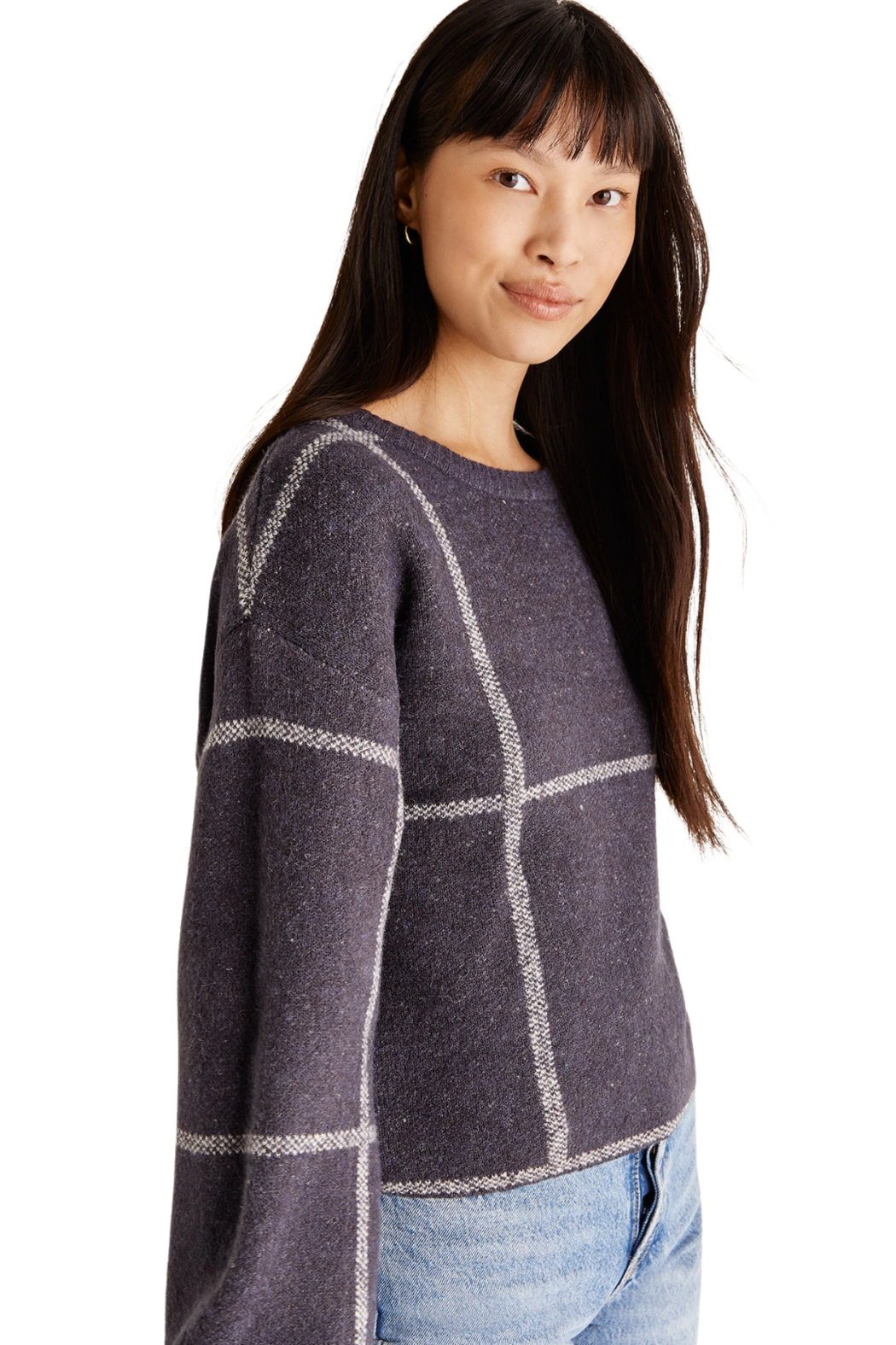 z supply  Solange Plaid Sweater - Front Full Image