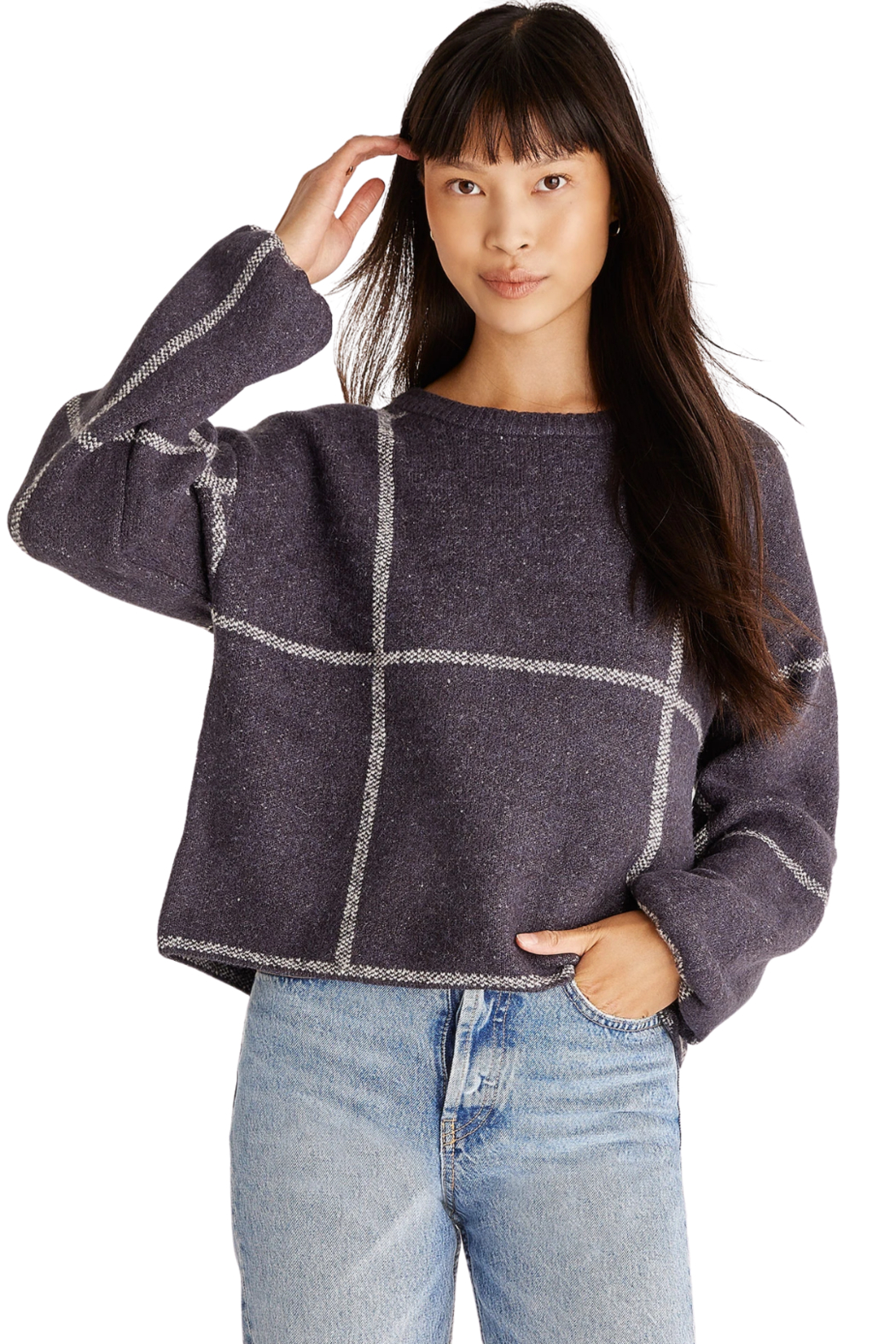 z supply  Solange Plaid Sweater - Front Cropped Image