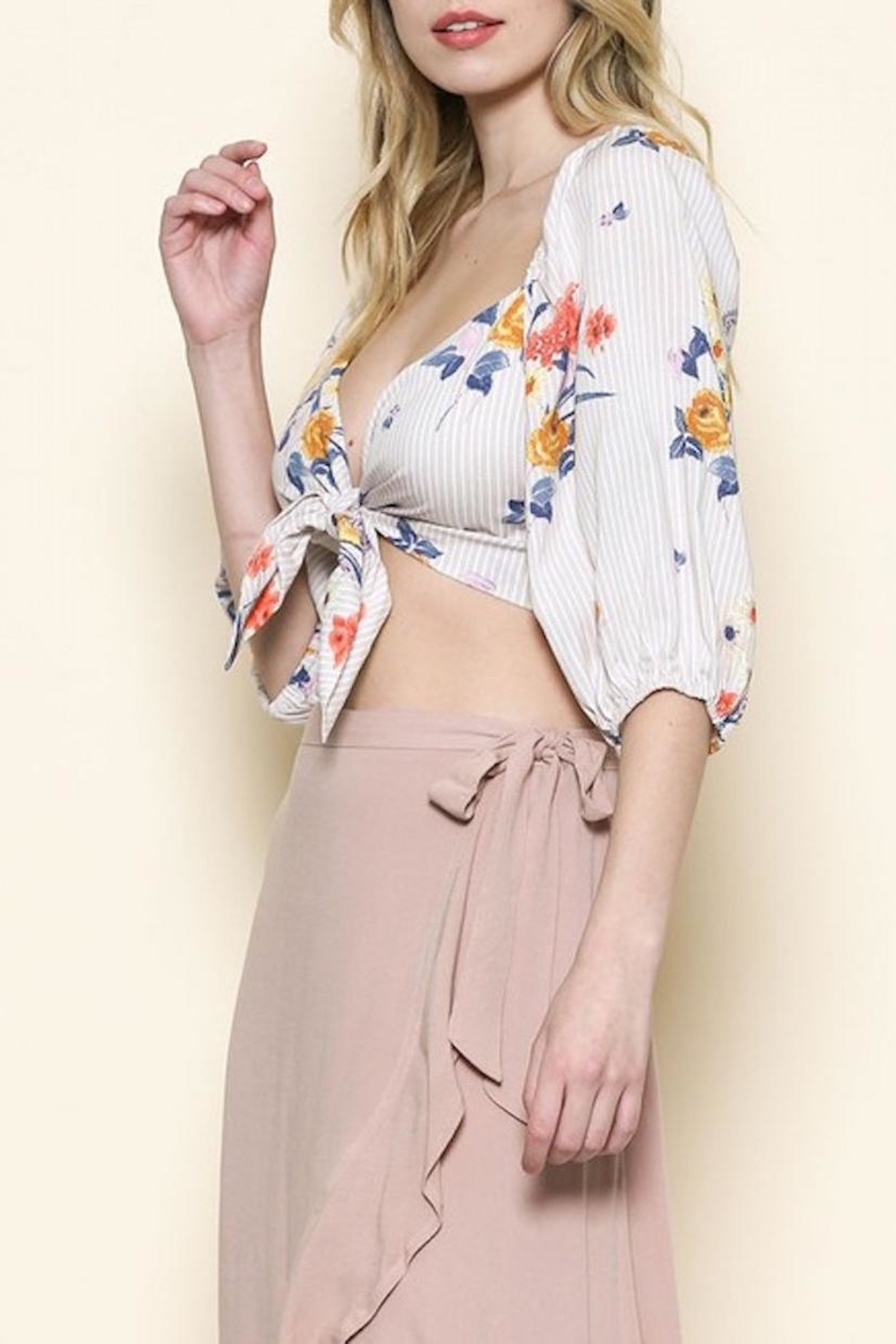 Sole Mio Floral Crop Top - Front Full Image