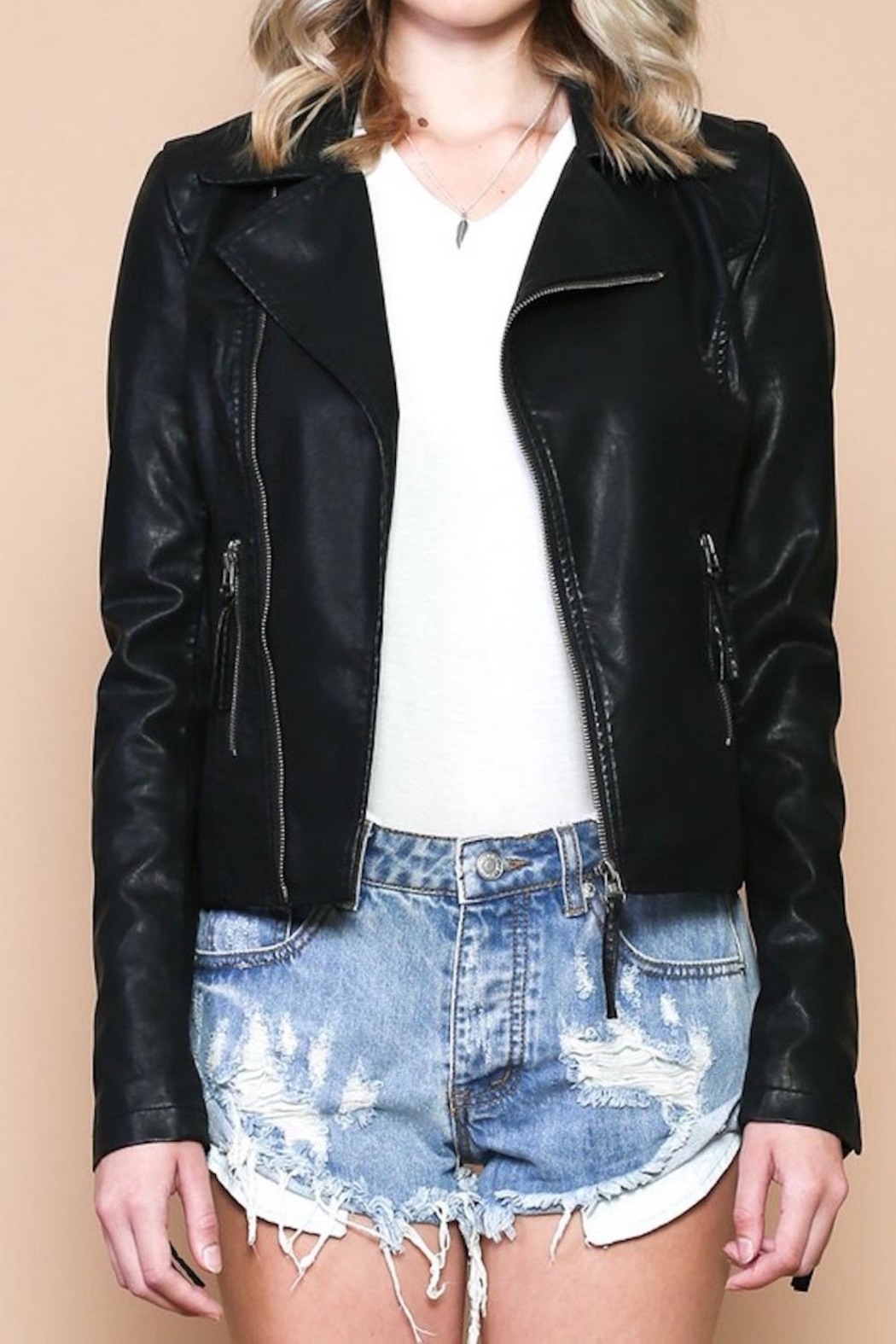 Sole Mio Laceup Moto Jacket - Side Cropped Image