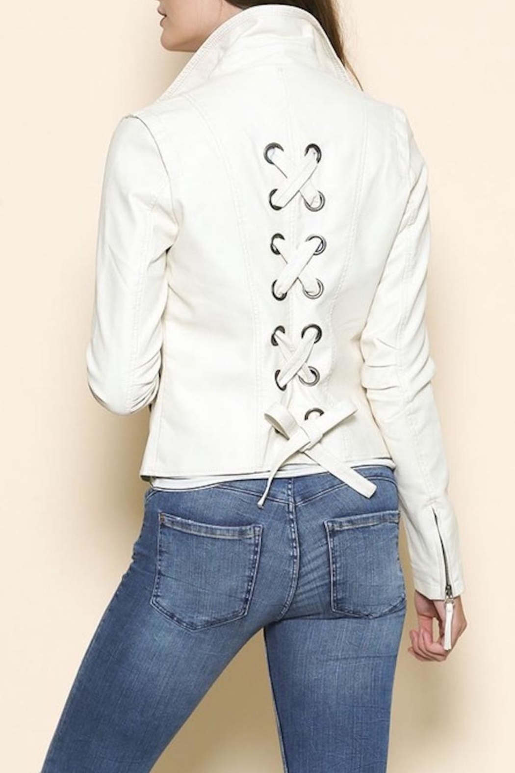 Sole Mio Laceup Moto Jacket - Front Cropped Image