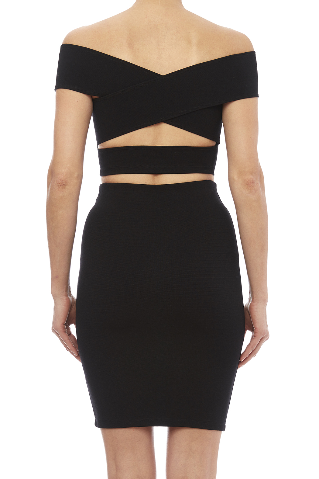 Solemio Off Shoulder Crop Top - Back Cropped Image