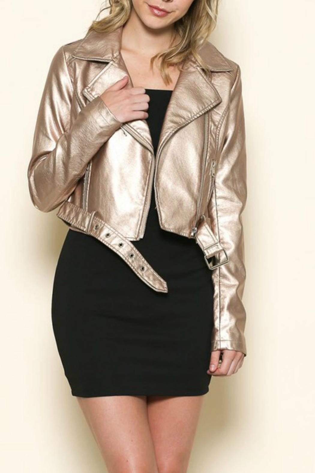 Sole Mio Rose-Gold Leather Jacket - Front Cropped Image