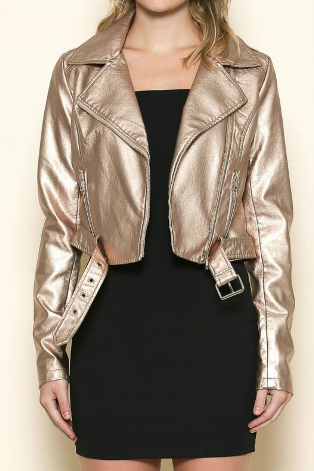 Sole Mio Rose-Gold Leather Jacket - Main Image