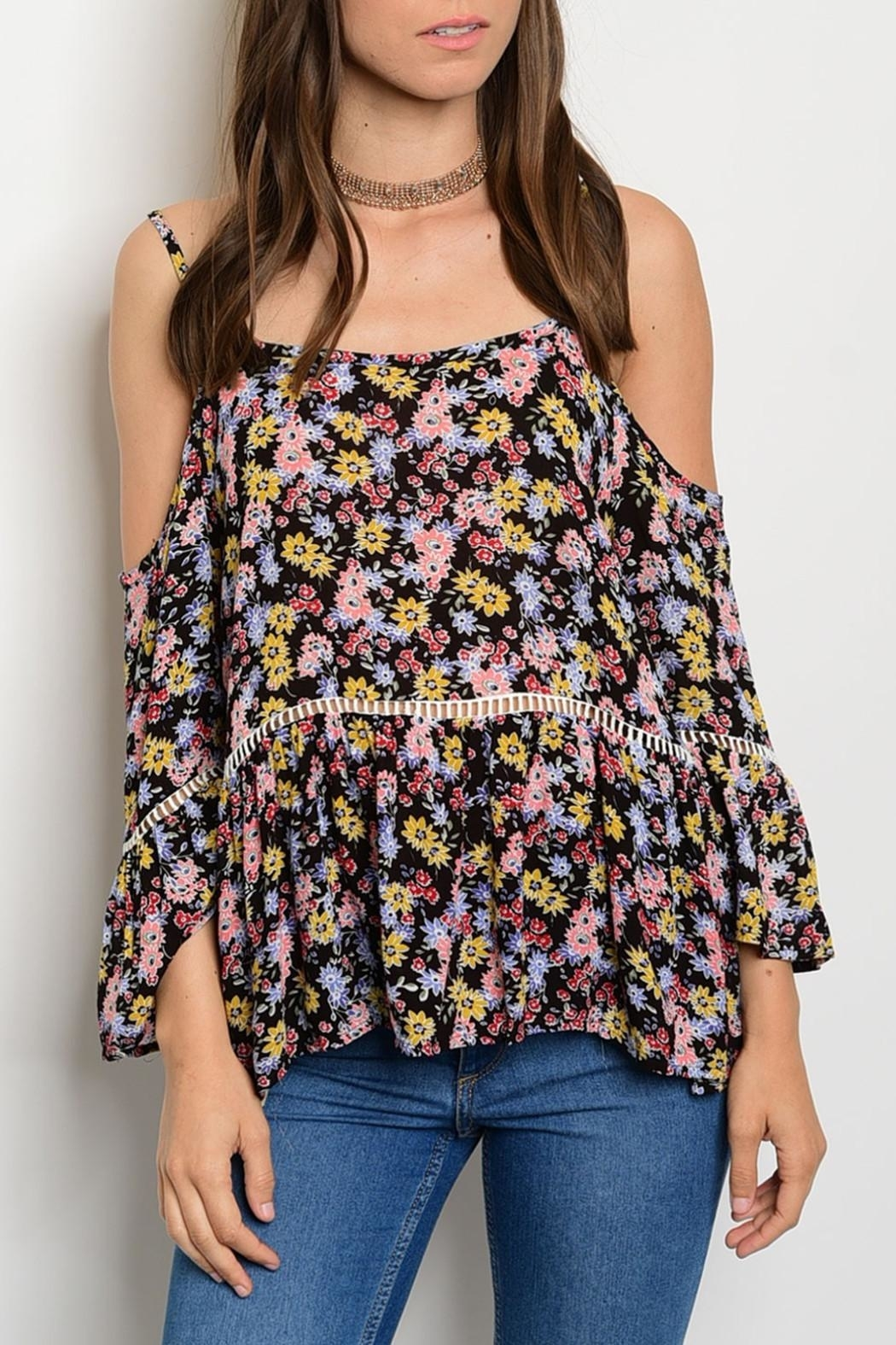 Solemio Floral bell sleeves top - Front Cropped Image