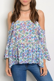 Solemio Blue Floral Top - Product Mini Image
