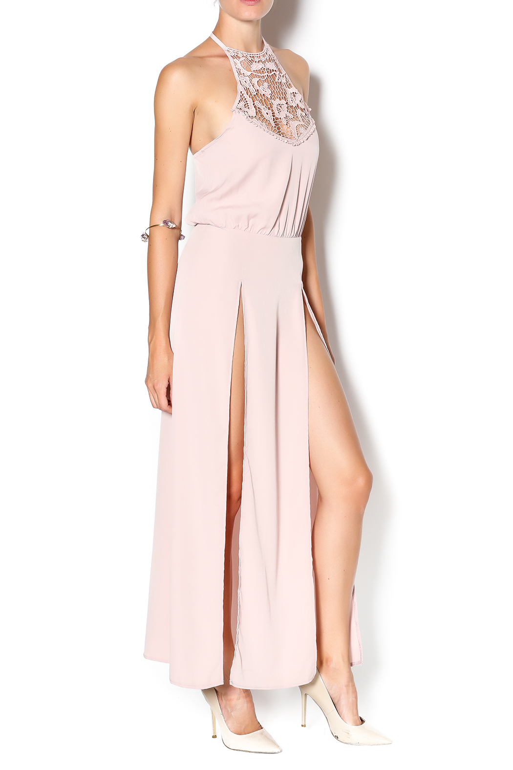 Solemio Blush Maxi Dress - Front Full Image