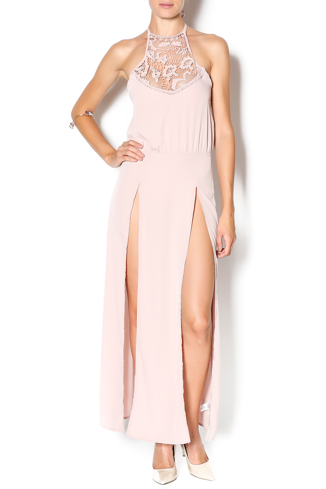 Solemio Blush Maxi Dress - Front Cropped Image
