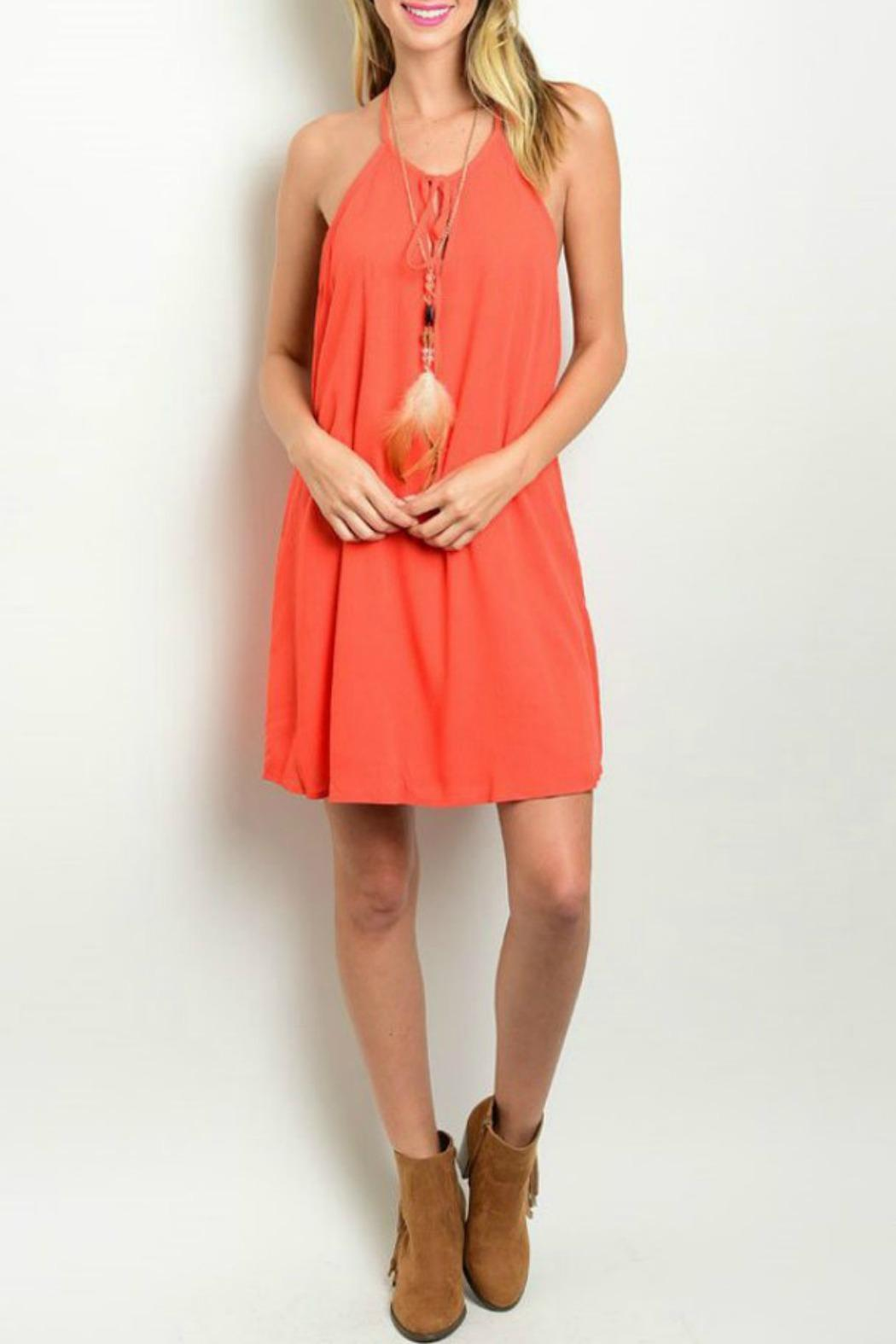 Solemio Coral Lace Dress - Front Cropped Image