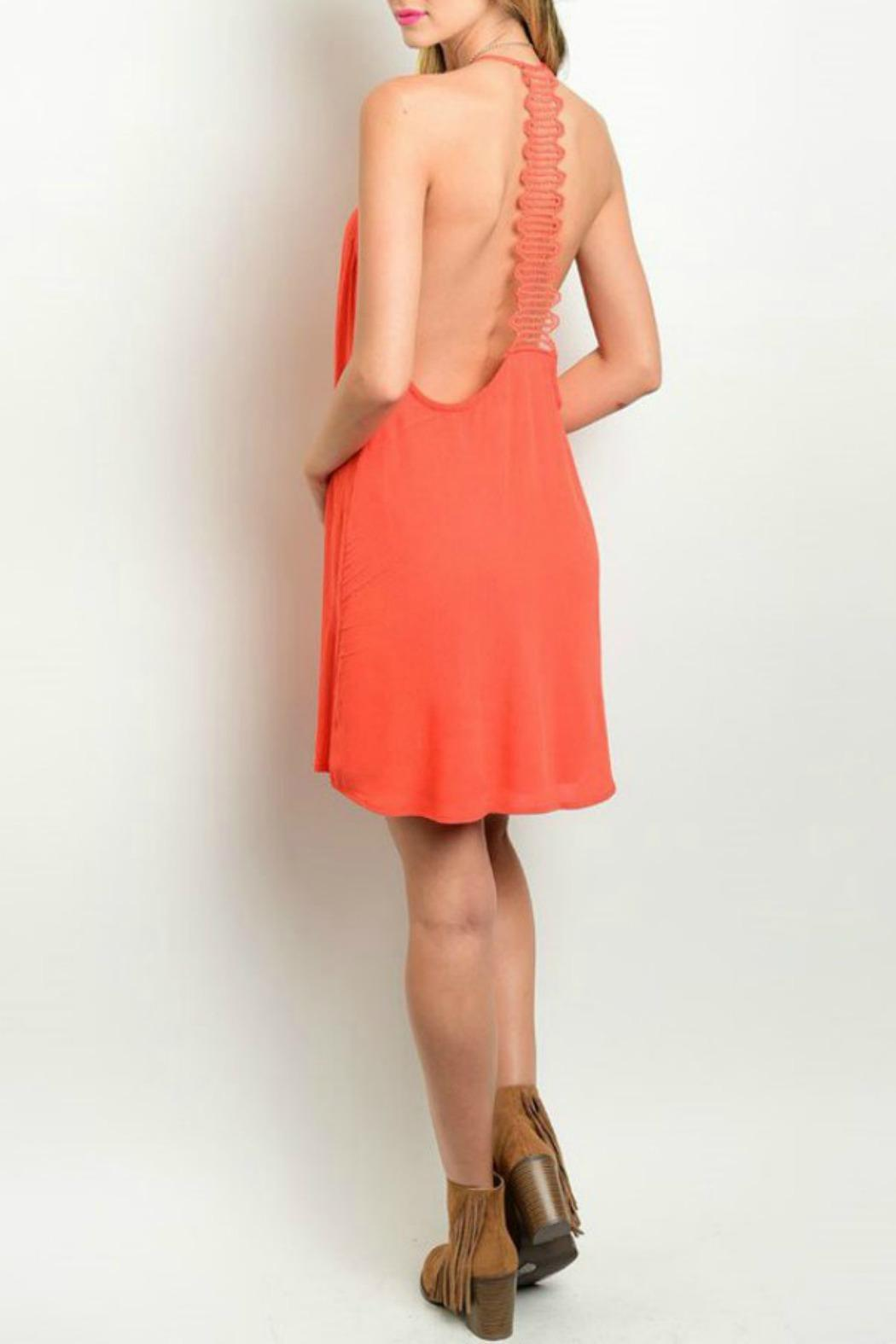Solemio Coral Lace Dress - Front Full Image