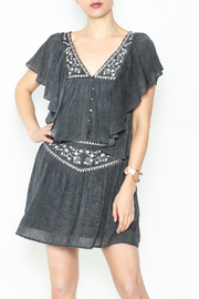 Solemio Embroidered Grey Top - Product Mini Image