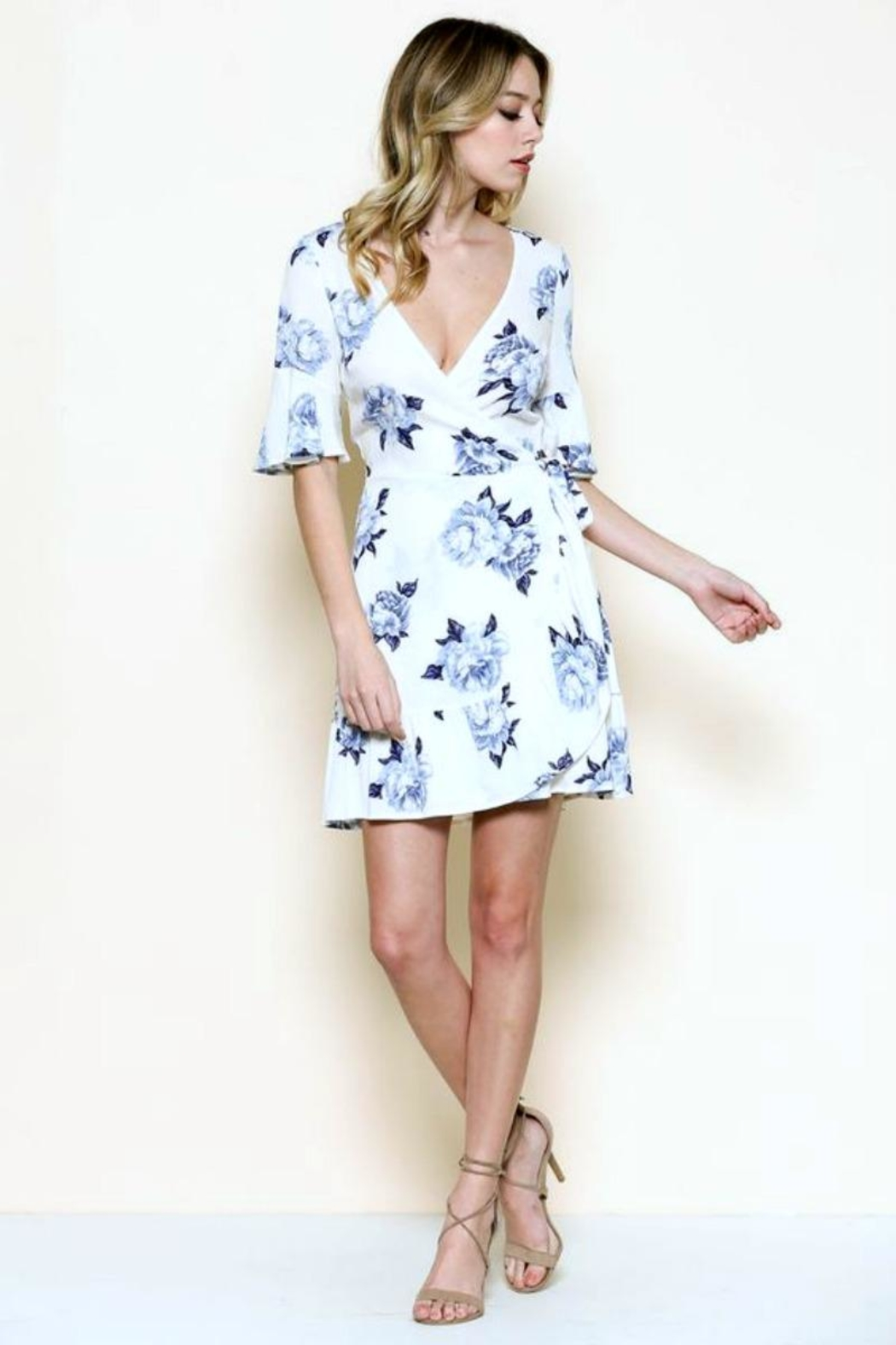 Solemio Floral Wrap Dress - Back Cropped Image