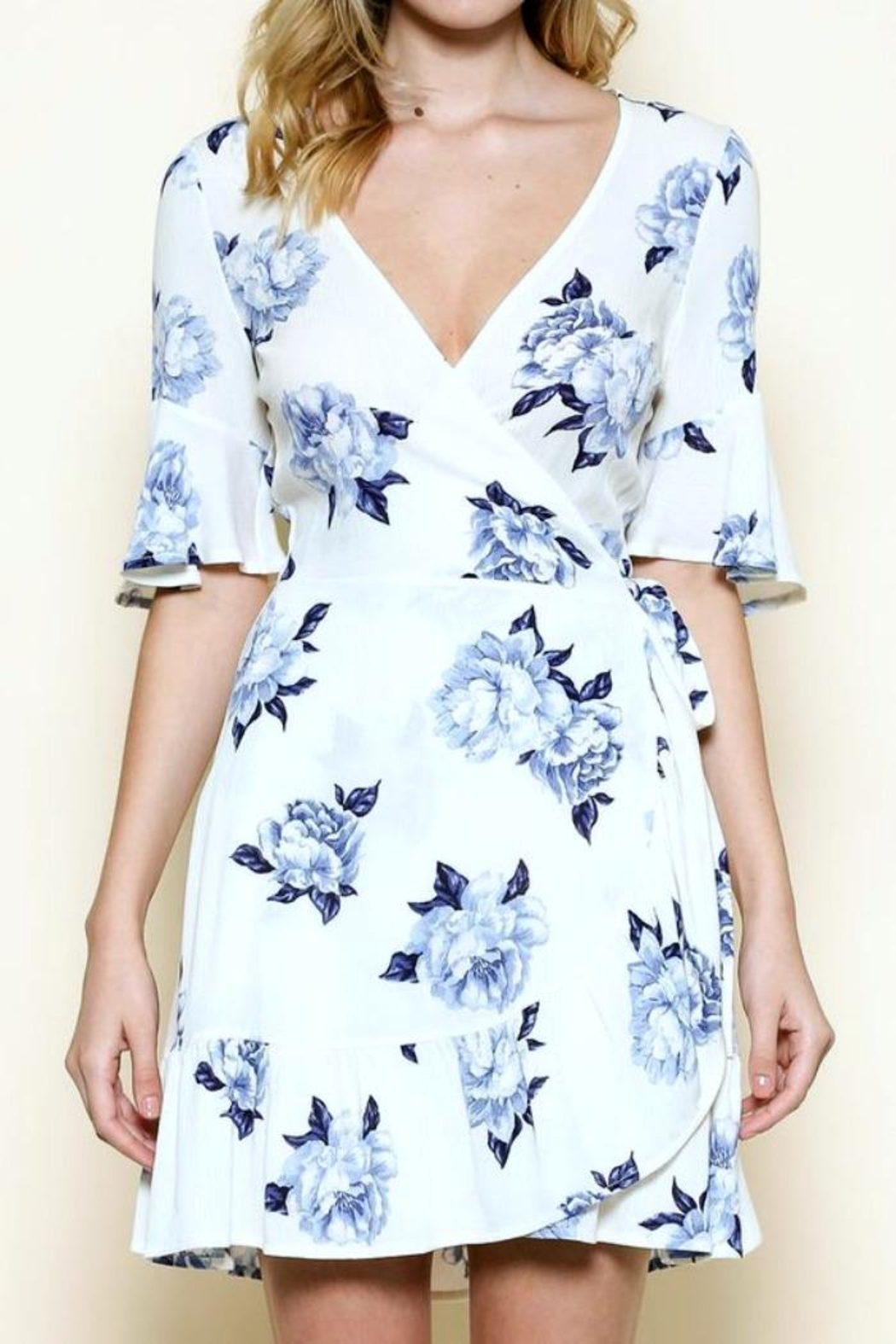 Solemio Floral Wrap Dress - Front Cropped Image