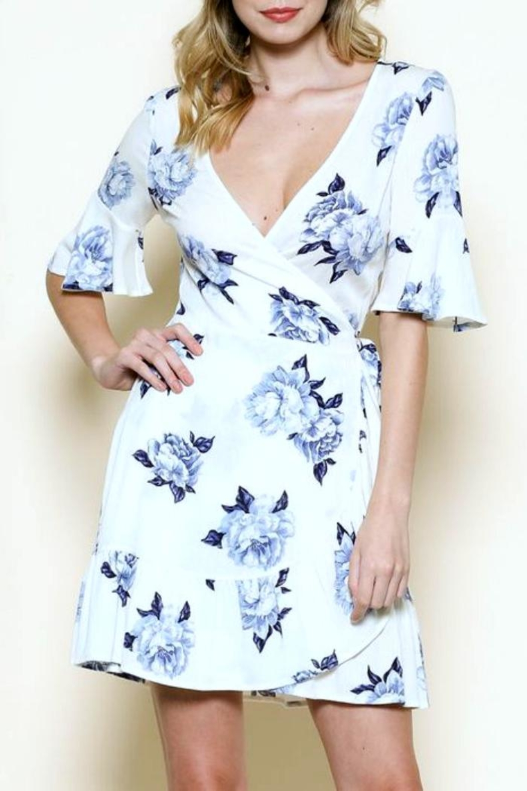 Solemio Floral Wrap Dress - Front Full Image