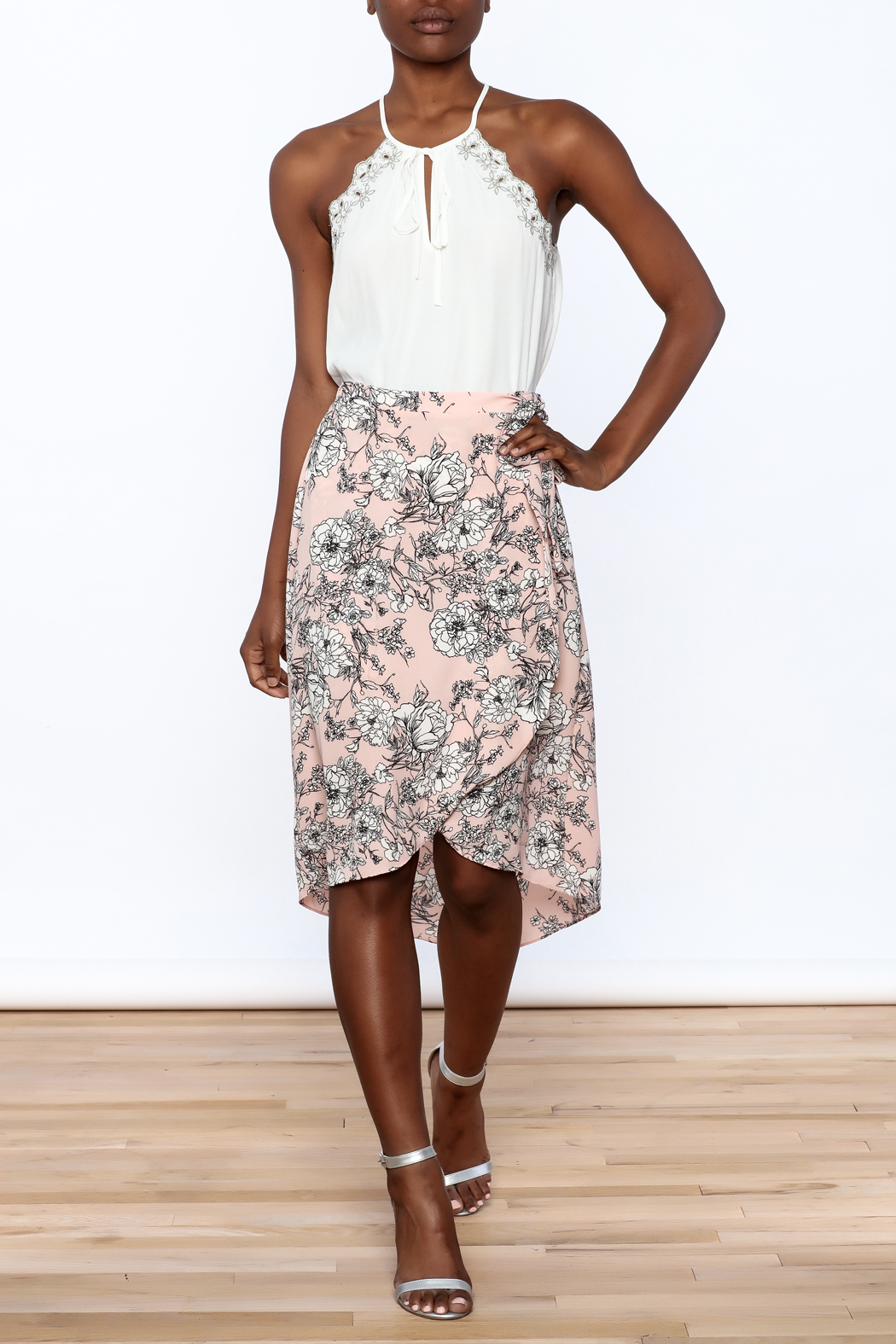 Solemio Floral Wrap Skirt - Front Full Image