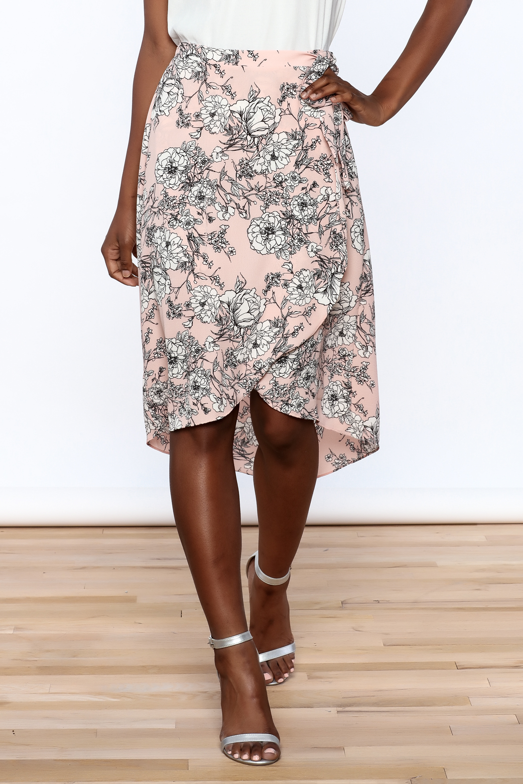 Solemio Floral Wrap Skirt - Front Cropped Image