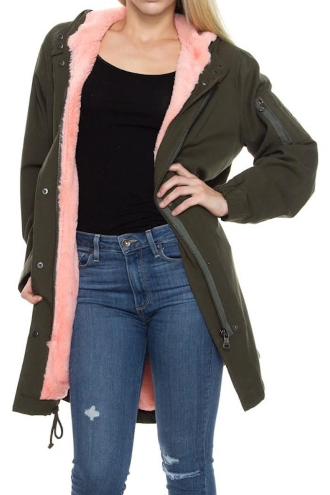 Solemio Fur Lined Jacket - Front Cropped Image