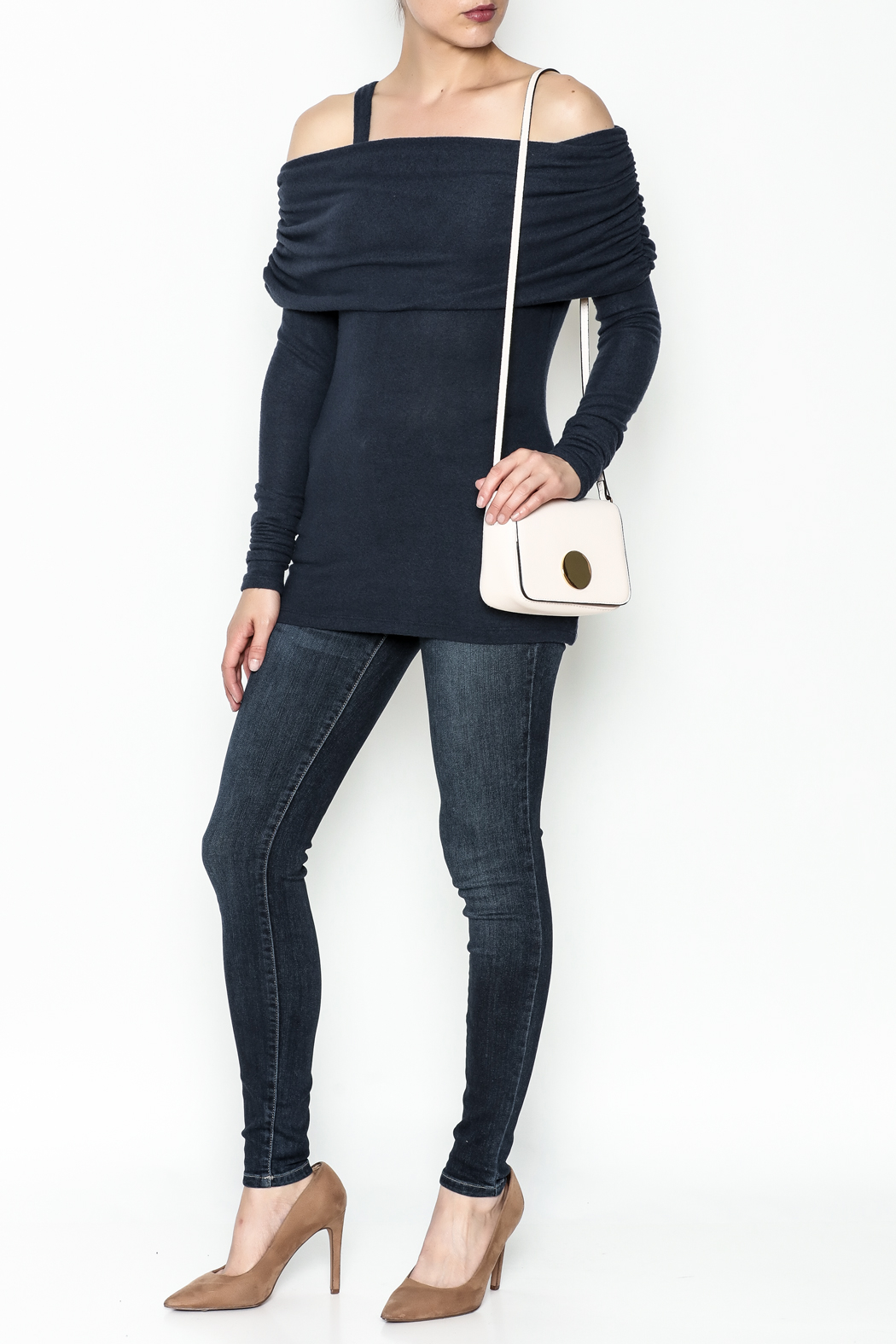 Solemio Cold Shoulder Sweater - Side Cropped Image