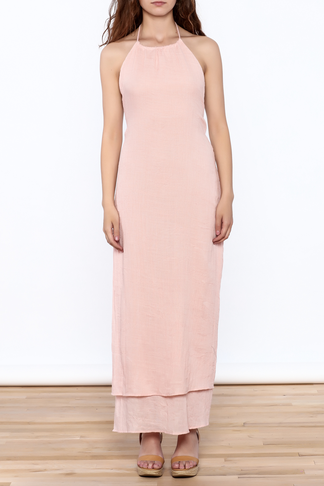 Solemio Pink Halter Maxi Dress - Front Cropped Image