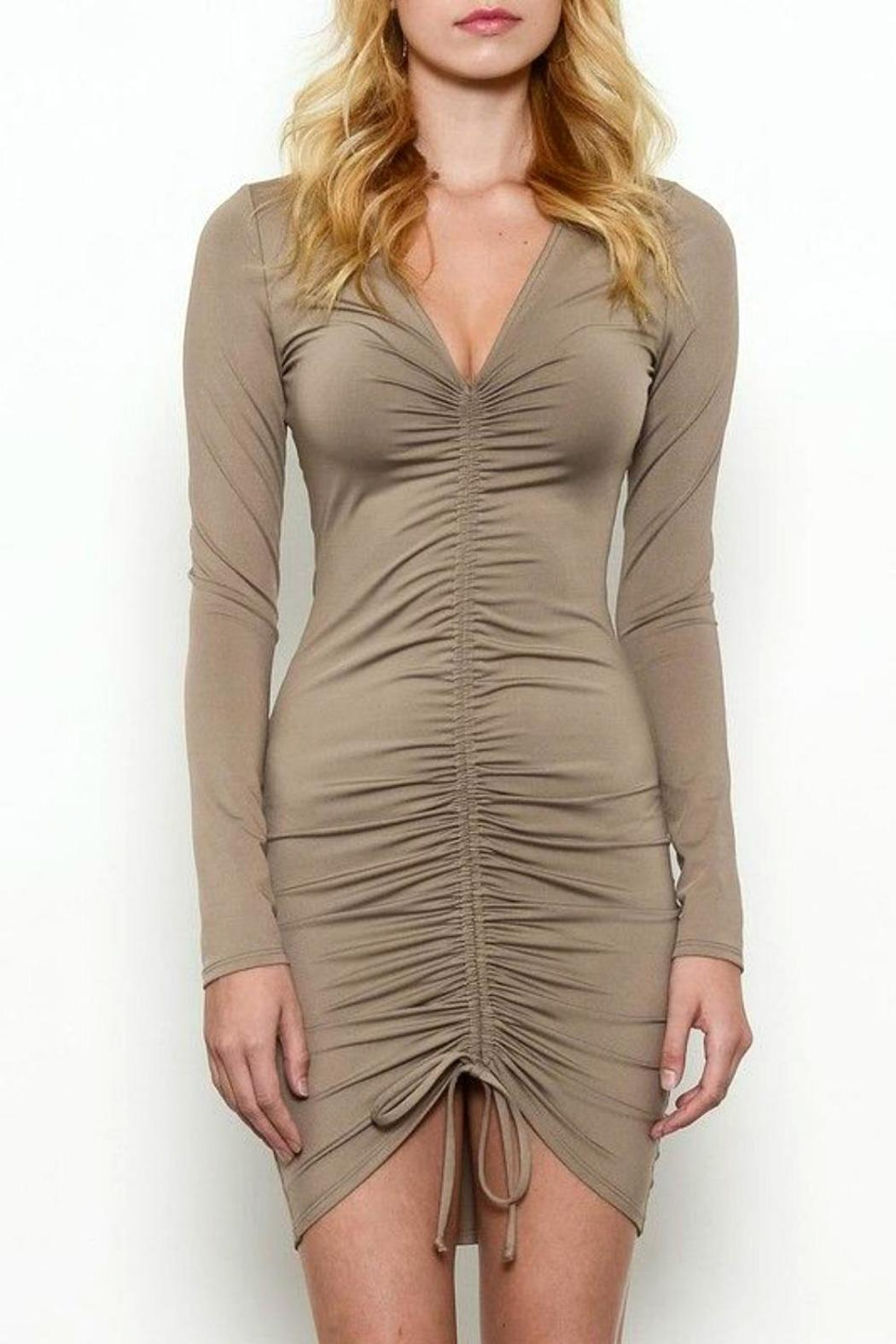 Solemio Ruched Dress - Front Cropped Image