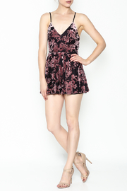 Solemio Strappy Velvet Floral Romper - Side cropped