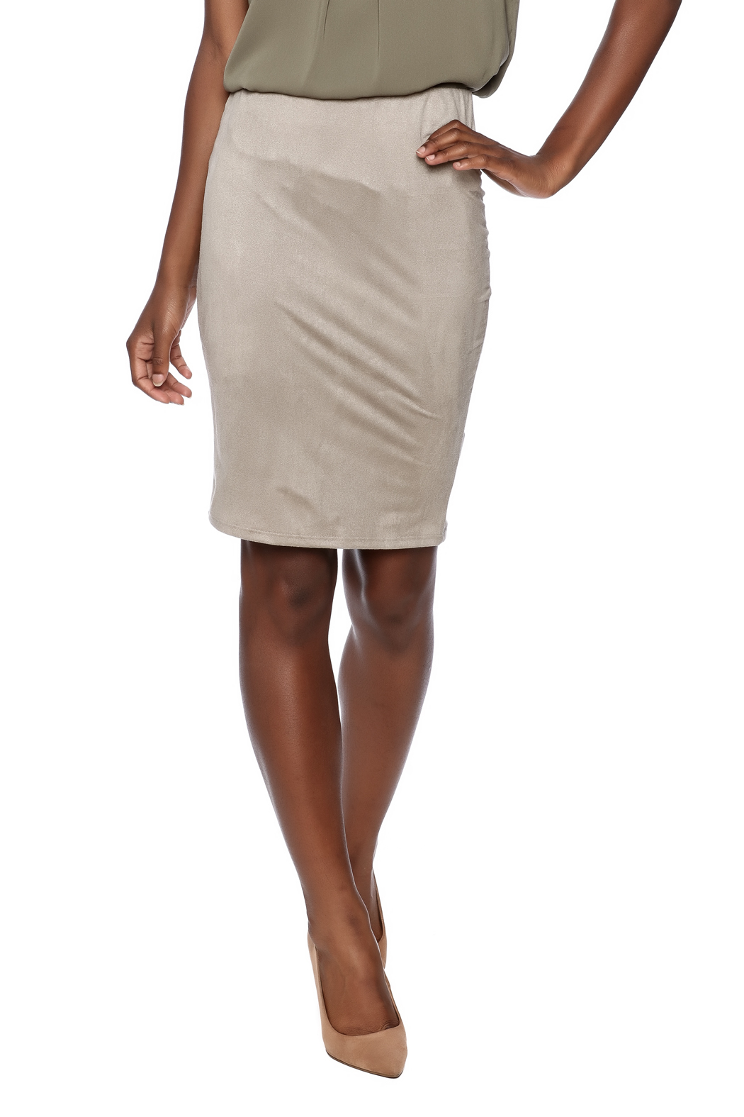 solemio taupe suedette pencil skirt from michigan by