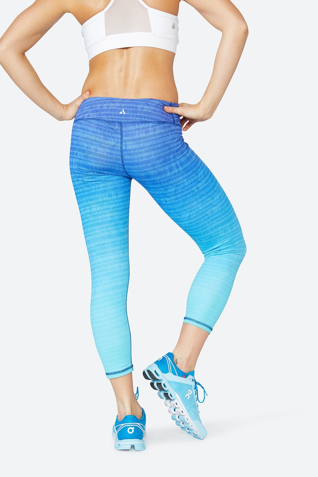 Solfire Blue Marianne Tight Leggings - Back Cropped Image