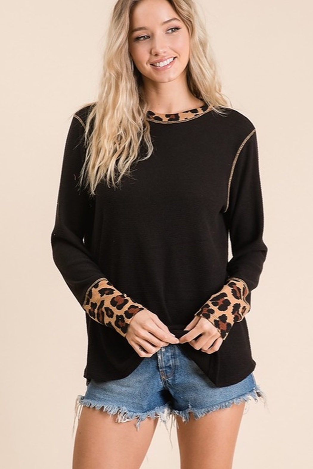 Ces Femme Solid and animal knit contrast knit top - Main Image