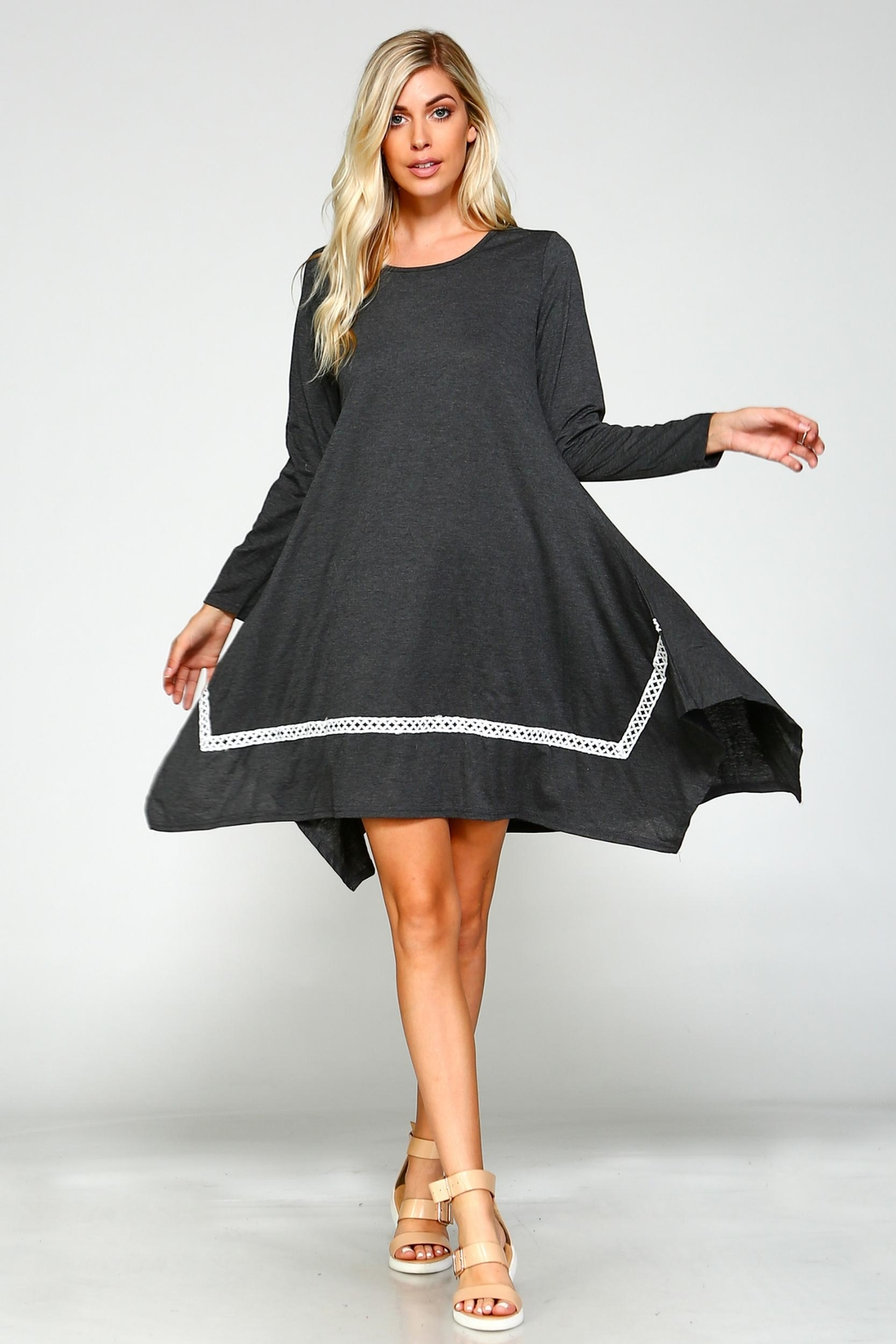 Racine Solid Asymmetrical Dress - Front Cropped Image