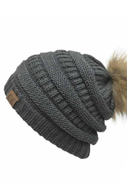 Judson & Co. solid beanie w/ pom - Front cropped