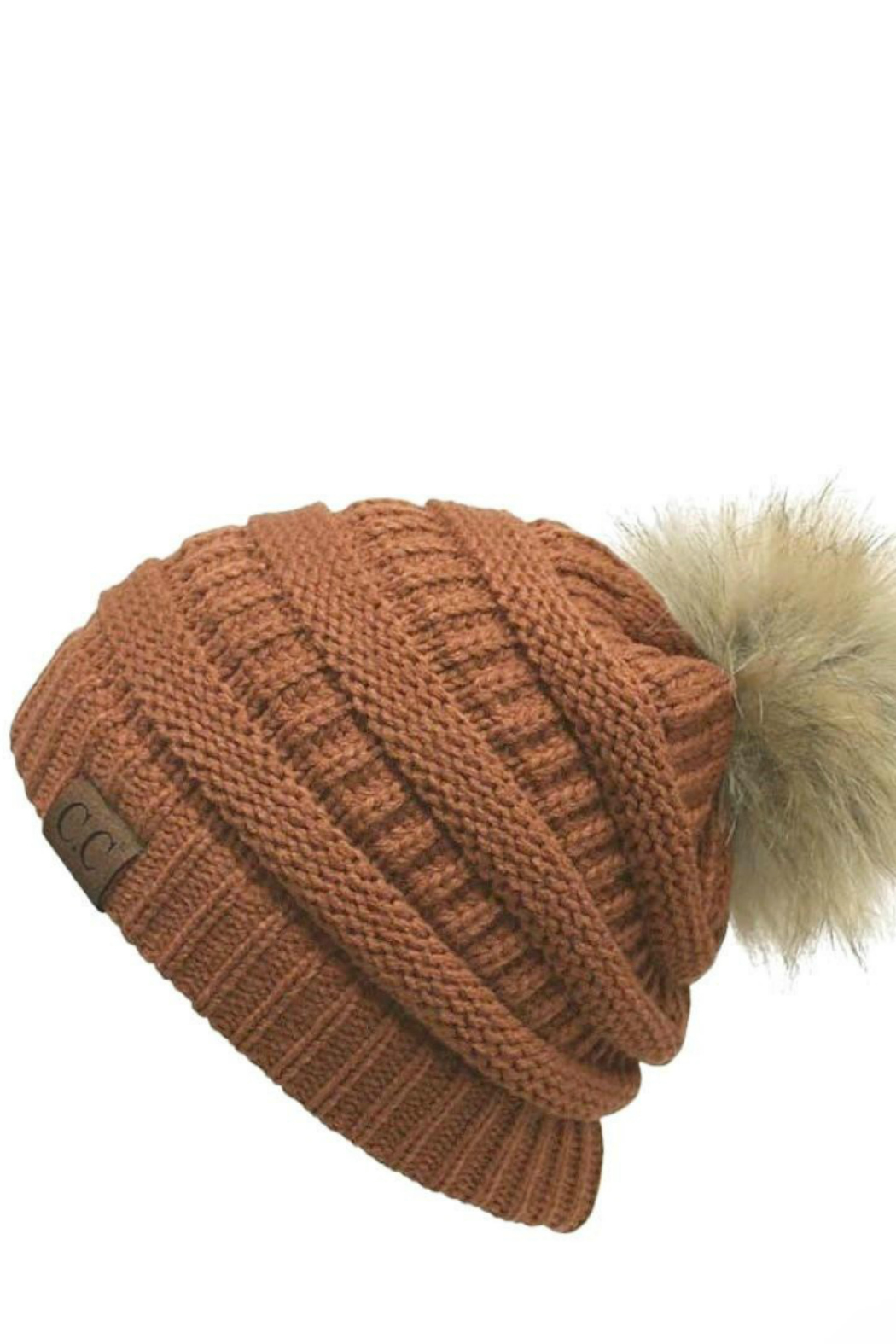 Judson & Co. solid beanie w/ pom - Front Cropped Image