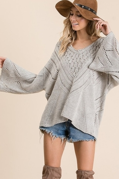 Ces Femme Solid Bell sleeve V-neck sweater - Product List Image