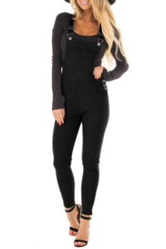 The Emerald Fox Boutique Solid Black Denim Overall for Women - Product List Image