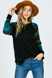 Lovely Melody Solid Black Top with Multicolor Striped Sleeves - Product Mini Image