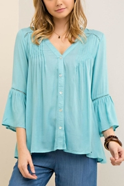 Entro Solid Button-Down Blouse - Product Mini Image