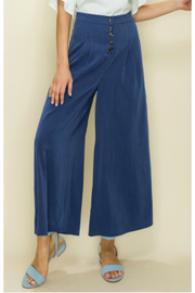 Glam Solid Button pleated crop wide leg trouser - Product Mini Image