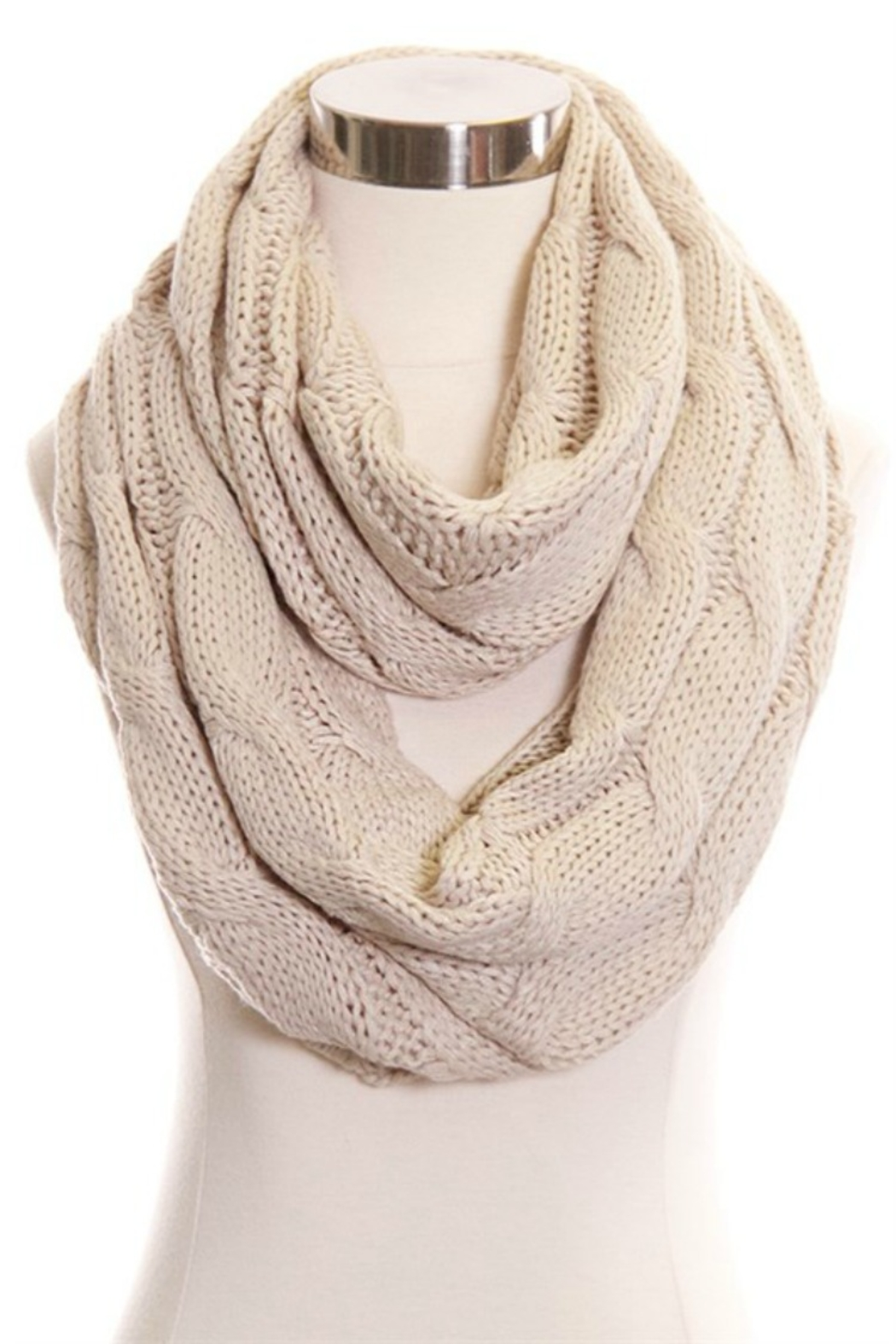 CC Beanie Solid Cable Knit Infinity Scarf - Main Image