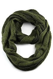 CC Beanie Solid Cable Knit Infinity Scarf - Front cropped