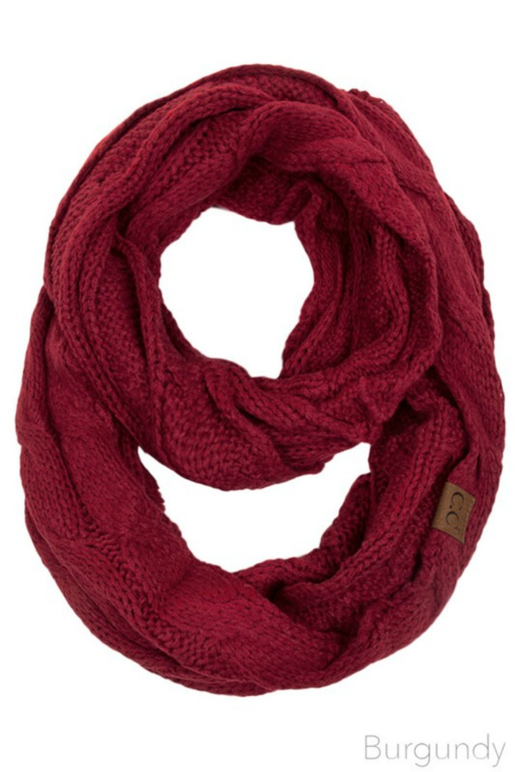 CC Beanie Solid Cable Knit Infinity Scarf - Front Cropped Image