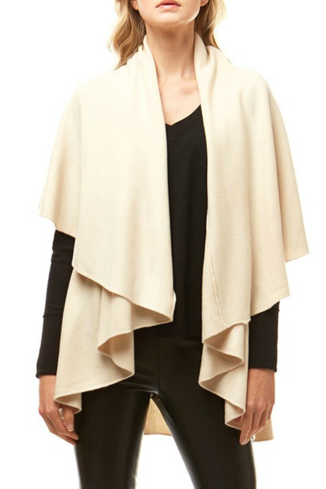 Hana Solid Cape Shawl - Front Cropped Image