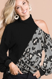 Bibi Solid Color and Leopard Contrast Top - Product Mini Image