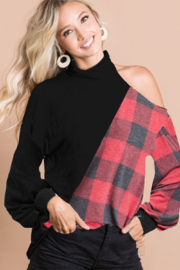 Bibi Solid Color and Plaid Top - Front cropped