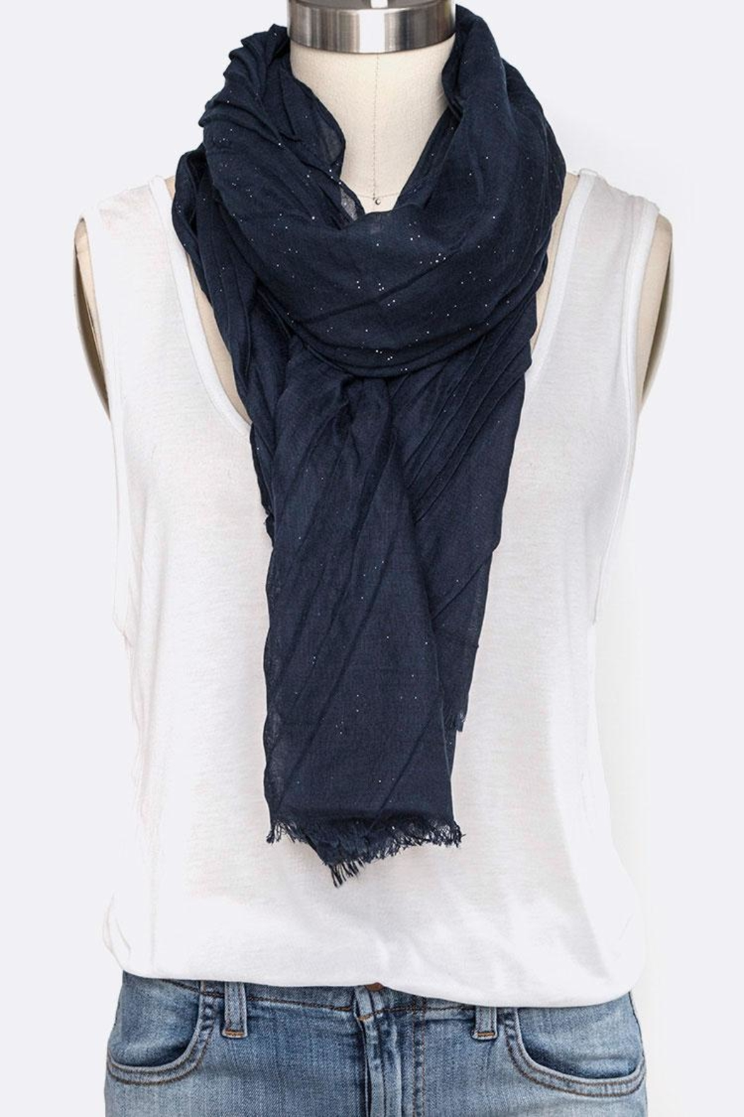 Nadya's Closet Solid Color Crinkle-Scarf - Front Cropped Image